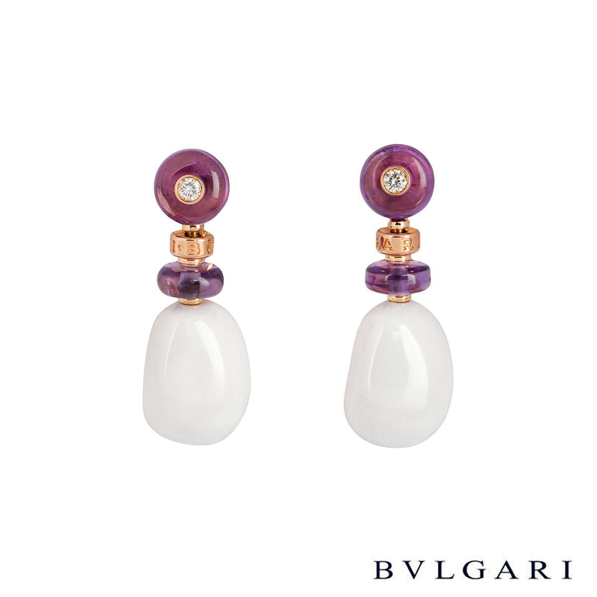 Bvlgari Rose Gold Diamond & Multi-Gem Mediterranean Eden Earrings
